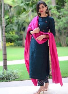 Indian designer suits - Teal & Pink Cotton Straight Salwar Suit Teal Cotton Straight Festive Best Salwar Suit Collection On Casual Look Churidar Designs, Kurta Designs Women, Kurti Neck Designs, Kurti Designs Party Wear, Indian Kurtis Designs, Cotton Kurtis Designs, Plain Kurti Designs, Latest Salwar Suit Designs, Indian Designer Suits