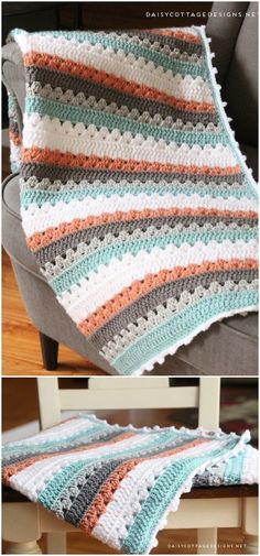 Easy Crochet Afghans Crochet Blanket Pattern Free Crochet Blanket Patterns Free Patterns - If you want to work on your skills then these quick to make and easy crochet blanket patterns will be perfect for brushing up your abilities. Crochet Afghans, Easy Crochet Blanket, Crochet For Beginners Blanket, Afghan Crochet Patterns, Crochet Patterns For Beginners, Crochet Baby, Knitting Patterns, Diy Crochet, Stitch Patterns