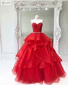 Sleeveless Red Organza Prom Dress