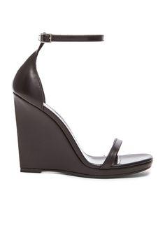 Image 1 of Saint Laurent Jane Leather Wedge Sandals in Black