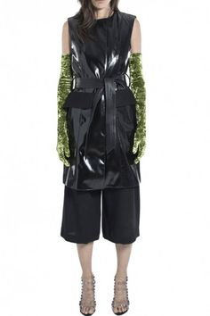Black Matt Vinyl Sleeveless Coat by Wanda Nylon - Shop it here : Precouture.com