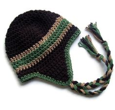 Baby Boy Hat, Boys Crochet Earflap Beanie Hat with Ties, Brown,Sage Green, Tan, MADE TO ORDER. $28.00, via Etsy.