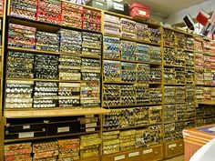 Storage of buttons for sale at Duttons