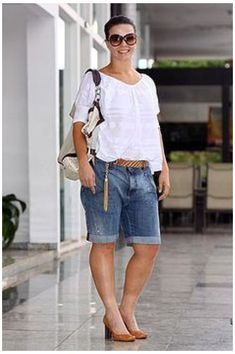 60 Fashion, Fashion Over 50, Plus Size Fashion, Fashion Outfits, Mode Outfits, Short Outfits, Casual Outfits, Look Con Short, Mode Plus