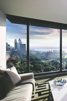 Luxury urban living room with great view
