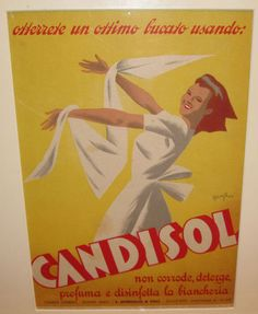 Candisol original vintage poster from 1947 Italy