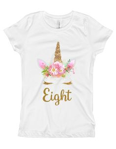 8th Pink and Gold Unicorn Birthday Party Shirt
