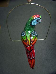 Large paper mache,Hanging Bird Parrot,Toucan,Home decor,Folk art,Mexico.GREEN #HANDPAINTEDPAPERMACHE