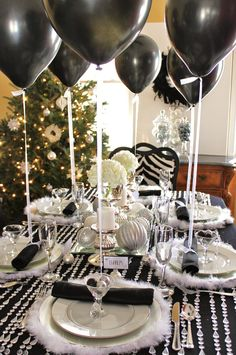 Crystal/Black/White New Year's Party! Love the crystals on the table cloth n fuzzy plate chargers