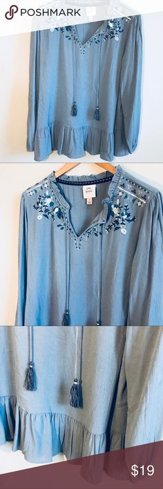 """[Knox Rose] Embroidered detail boho blouse Knox Rose  Embroidered sequin detail  Peplum bottom Tassels  Pit to pit 21.5"""" Length 28""""  Rayon/ poly Knox Rose Tops Blouses"""