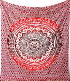 RED Large Cotton Mandala Fabric Boho Tapestry Wall Hanging Hippie Wall Tapestries Throw Bedding Bedspread Home Decor Ethnic