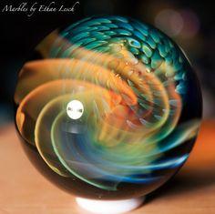 "1.49"" HANDMADE MARBLE SIGNED BY ~ETHAN LESCH~ BOROSILICATE, BORO, ART, MIB #Glass"