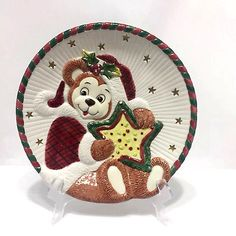 Fitz and Floyd Teddy Bear Santa Serving Cookie Plate Christmas Retired 8.25 Inch