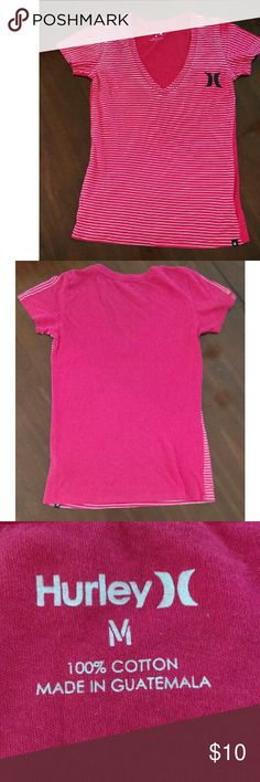 Hurley T Shirt Pink and White Striped Hurley V Neck Tee. 100% Cotton. Like New! Hurley Tops Tees - Short Sleeve