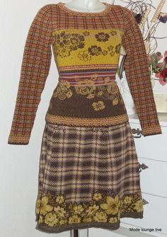 Ivko Jumper Lamb Wool Jumper Floral Pattern Brown Scottish Pattern Flowers #Ivko