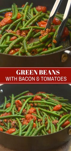 Green Beans with Bacon and Tomatoes are easy to make for a weeknight meal yet fancy enough for a holiday party. With tender-crisp green beans, smoky bacon, and juicy grape tomatoes, they're a guaranteed dinner favorite! #sidedish #vegetable #bacon #greenbeans #comfortfood #easyrecipes #weeknightdinner