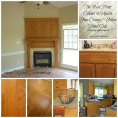 best paint colours for oak that is orange or yellow toned on flooring, cabinets, trim, furniture and more.  Great ideas to update