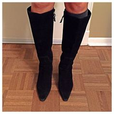 Chaps Black Suede Heeled Boots 8 1/2 These are just beautiful suede boots. Barely worn. The heel is lower. They are size 8 1/2 and perfect for fall and winter. Chaps Shoes Heeled Boots