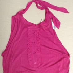 "Ruffled basic tank In pink, never worn, long and lean cut, 15"" across laying flat, 27"" long, it stretches pretty good Tops Tank Tops"