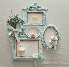 Frame art Picture Frame Crafts, Decorating Picture Frames, Home Crafts, Diy Home Decor, Molduras Vintage, Antique Picture Frames, Shabby Chic Frames, Home And Deco, Framed Art