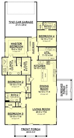 house plans Compact Craftsman House Plan Ideal for a Narrow Lot - floor plan - Main Level It Shotgun House Plans, Garage House Plans, Craftsman Style House Plans, New House Plans, Craftsman Homes, Car Garage, 4 Bedroom House Plans, Beach House Plans, Cottage House Plans