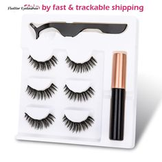 New Magnetic Fake Eyelashes Magnetic Liquid Eyeliner Natural Long 5 Magnet False. New Magnetic Fake Eyelashes Magnetic Liquid Eyeliner Natural Long 5 Magnet False Eyelashes With Tweezer set for Girl Women Gift Long Thick Eyelashes, Natural False Eyelashes, Thicker Eyelashes, False Lashes, Eyeliner Tutorial, Flutter Eyelashes, Maybelline, Eyelash Tips, Waterproof Eyeshadow