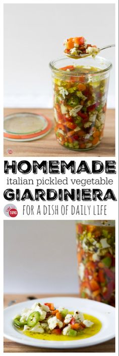 Homemade Italian Giardiniera - This recipe for Italian pickled vegetable giardiniera will perk up your cheese board and add zing to your favorite sandwich. Definitely a farmer's market favorite! Source by joanneeatswell Recipe Creator, Fermented Foods, Canning Recipes, Homemade Giardiniera Recipe, Canning Tips, Kefir, Different Recipes, Vegetable Recipes, Vegetable Sides