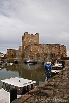 Carrickfergus Castle is a Norman castle in Northern Ireland, situated in the town of Carrickfergus in County Antrim, on the northern shore of Belfast Lough. Besieged in turn by the Scots, Irish, English and French it remains one of the best preserved medieval structures in Ireland.