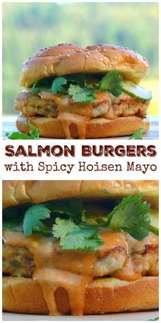 Pickled cucumbers and cilantro leaves give these Salmon Burgers with Spicy Hoisin Mayo crunch and an herby freshness. They are absolutely the most flavorful fish burgers you could expect to enjoy. You are going to love these. Sushi Burger, Salmon Burger Toppings, Healthy Salmon Burgers, Sauce For Salmon Burgers, Burger Recipes, Salmon Recipes, Fish Recipes, Seafood Recipes, Healthy Recipes