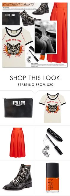 """""""Statement T-Shirt"""" by a-a-nica ❤ liked on Polyvore featuring Givenchy, Gucci, TIBI, Bobbi Brown Cosmetics and NARS Cosmetics"""