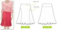 SUSAN SKIRT: Elastic waist makes this skirt so wearable. Side panels create interest and a fashion statement FABRIC SUGGESTION & DESCRIPTION: knitted jersey fabric with stretch.