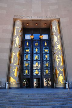 If ever there were portals, libraries qualify! I've been here & this is beautiful. The doorway to the Brooklyn Public Library. #portals