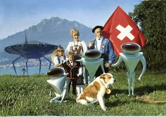 Switzerland  vintage postcard+aliens. fantastic! love it! #ecrafty
