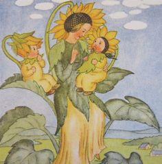 sunflower mother and babies--Ida Bohatta