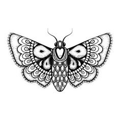 zentangle: Hand drawn artistically black Butterfly, cute ornamental patterned flying Moth in zentangle style for tattoo, t-shirt, adult anti stress coloring pages. Vector monochrome illustration.