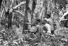 Three shirtless U.S. soldiers advance through the Mimot rubber plantation in the Fishhook region of Cambodia, on May 4, 1970, taking aim at a fleeing suspect. The rubber plantation, one of the largest in Indochina, had been in operation until just a few days earlier. (Henri Huet/AP) ~ Vietnam War