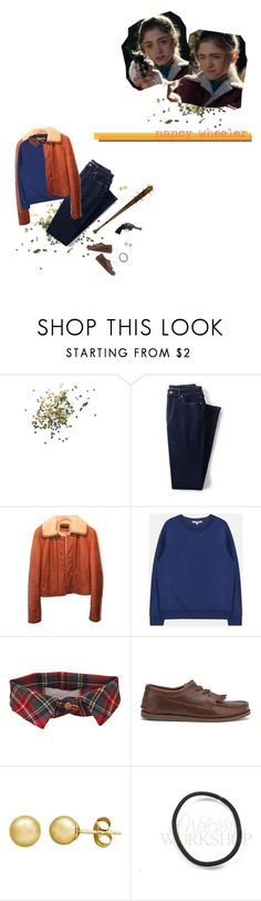"""stranger things: nancy wheeler"" by mercuryal ❤ liked on Polyvore featuring Topshop, Lands' End, Strenesse, Preen and Everlasting Gold"