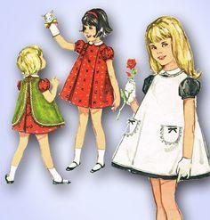 1960s ORIGINAL Adorable Toddlers Dress & Pinafore Apron Pattern Sz 6 | eBay