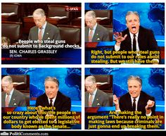 """Leave it up to Jon Stewart to provide a good response to that stupid """"Criminals won't follow gun laws"""" argument.."""