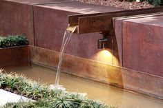 Deck used under fountain in entry garden by Anne Daigh landscape architect,LLC at Nasheville Antiques and Garden Show Waterfall Lights, Pond Lights, Romantic Backyard, Light Writing, Water Features In The Garden, Garden Show, Ponds Backyard, Commercial Lighting, Water Garden