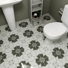 SomerTile 7.75x7.75-in Thirties Crest Ceramic Floor and Wall Tile (Case of 25) - Overstock Shopping - Big Discounts on Floor Tiles