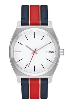 Nixon Time Teller White  Stripes Leather Watch A045185400 Stainless Steel Analog ** Continue to the product at the image link.