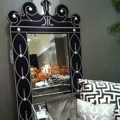Black Raymond Waites upholstered mirror