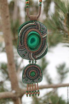 Купить Кулон с малахитом - зеленый, кулон с камнем, украшения ручной работы, украшение на шею
