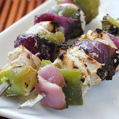 "Marinated Greek Chicken Kabobs | ""Oh, my freakin' WORD!!!!! What a fabulous flavor! This takes chicken over the edge of extraordinary taste."""