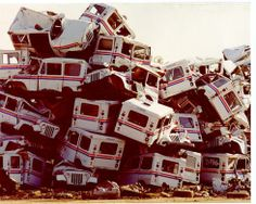 Mail Trucks PILE! Well what a waste of tax payer money I'm sure some were still operable JC JEEP