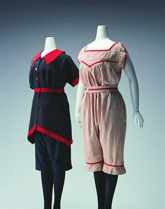 Bathing Suits 1900s The Kyoto Costume Institute (The red stripey one would make really cute PJ's.)