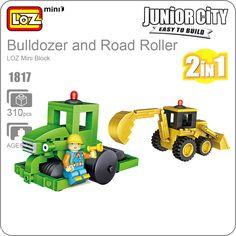 LOZ Mini Blocos Bulldozer Models Mini Road Roller Fun Boy Toy Designer Diy Building Blocks Friends Kids Cars Children Gift 1817