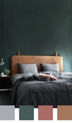 26 Rustic Bedroom Design and Decor Ideas for a Cozy and Comfy Space - The Trending House Bedroom Green, Green Rooms, Bedroom Colors, Dream Bedroom, Home Bedroom, Bedroom Interior Colour, Luxurious Bedrooms, Dark Bedrooms, My New Room