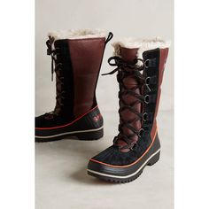 Sorel Tivoli High Boots ($150) ❤ liked on Polyvore featuring shoes, boots, brown, brown high boots, faux boots, synthetic boots, waterproof footwear e sorel footwear